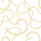 Golden metal chains seamless pattern. Vector illustration stock illustration