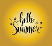 Hello summer card. Hand drawn lettering background. Ink illustration. Modern brush calligraphy. Vector illustration stock illustration