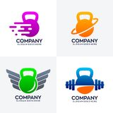 Set of unique kettlebell logo design stock illustration