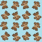 Alloverprint with cute monkeys blue background royalty free stock photos