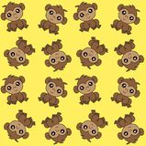 Alloverprint with monkeys on yellow background stock photo