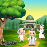 People muslim cartoon on the road to the mosque stock illustration