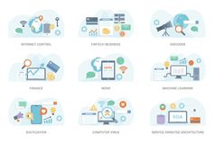 Flat Concept illustration Vector Collection royalty free illustration