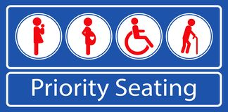 Set of priority seating sticker or label, for mass rapid transit or other public transportation. vector illustration