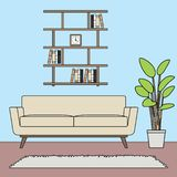 Blue theme simple minimalist living room sets template royalty free illustration