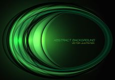 Abstract green light ellipse curve overlap on black design modern luxury futuristic technology background vector stock illustration