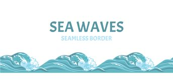 Sea waves seamless pattern, border. vector illustration