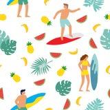 Summer beach seamless pattern. People having fun on the beach. Surf. Vector illustration vector illustration