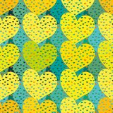 Seamless vector colorful valentines pattern with yellow hearts royalty free illustration