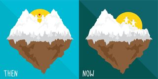Vector cartoon then and now about effect  global warming. ice snow heart mountain melt and broken. Vector cartoon then and now about effect of global warming royalty free illustration