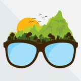 Vector graphic glasses with concept travel and journey natural style. creative design green mountain and sunset. Vector graphic glasses with concept travel and stock illustration