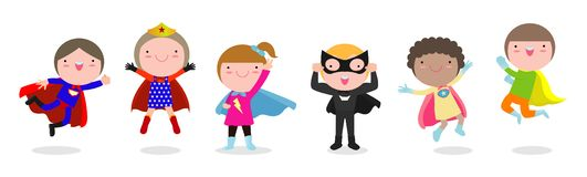 Cartoon set of Kids Superheroes wearing comics costumes, children With Super hero Costumes set, child in Superhero costume stock illustration
