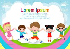 Kids jumping on the rainbow, children jump with joy, happy cartoon child playing on playground background, Template