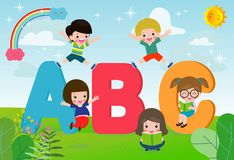 Cartoon children with ABC letters, School kids with ABC, children with ABC letters,Vector Illustration. Cartoon children with ABC letters, School kids with ABC stock illustration
