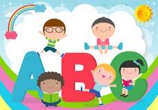 Cartoon children with ABC letters, School kids with ABC, children with ABC letters,Vector Illustration. Cartoon children with ABC letters, School kids with ABC vector illustration