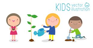 Vector Illustration Of Kids Planting in a park, children are plant trees, cute child volunteers, Save the World isolated. On white background stock illustration