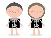 Cute cartoon boy and girl with x-ray screen showing internal organs and skeleton. x ray check bones kid, Element of educational. Infographics for kids Vector vector illustration