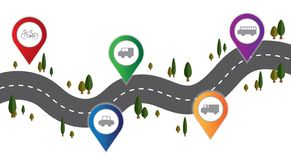 Vector transport on the road and route infographic royalty free illustration