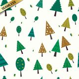 Trees seamless pattern background texture for textile printing, wrapping paper, gift paper, clothes, towels, etc. Seamless cute pattern with pines and christmas vector illustration