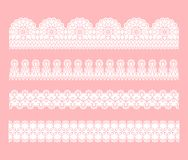 Lace seamless border. Set of white lace tracery ribbons. royalty free illustration