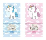 Unicorn baby shower invitation vector illustration