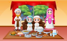 Iftar on holy month of Ramadan with muslim family enjoying feast. Illustration of Iftar on holy month of Ramadan with muslim family enjoying feast royalty free illustration