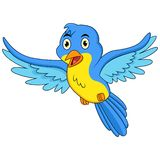 Happy blue bird cartoon flying stock photo