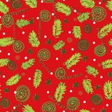 Seamless vector christmas pattern with tree branches and ornaments stock illustration
