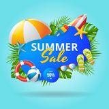 Summer sale vector banner design with colorful beach elements. royalty free stock photo