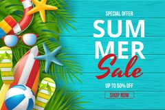 Summer sale vector banner design with colorful beach elements. stock image