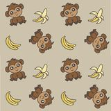 Cute monkeys with bananas seamless background royalty free stock photography