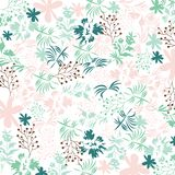 Cute floral pattern in shabby chic style. Vector flower background in fresh pastel. Colors vector illustration