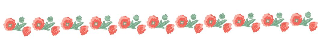 Decorative strip of poppies. Open buds with stems and leaves on a white background. Vector vector illustration