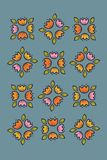 Colorful folk retro flower ethnic collection on modern blue background. Vector illustration of  folk retro flower vector illustration