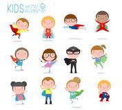 Cartoon big set of Kid Superheroes wearing comics costumes,Kids With Superhero Costumes set, kids in Superhero costume characters royalty free illustration
