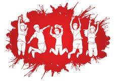 Group of children jumping on splatter ink cartoon graphic royalty free illustration