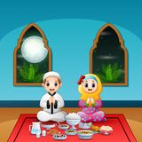 Muslim couple pray together before break fasting. Illustration of Muslim couple pray together before break fasting stock illustration