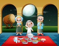 Muslim family pray together before break fasting. Illustration of Muslim family pray together before break fasting stock illustration