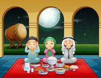 Muslim family pray together before break fasting. Illustration of Muslim family pray together before break fasting vector illustration