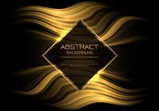 Abstract vector luxury gold curve line wave in black with diamond banner white frame template design modern background. Illustration stock illustration