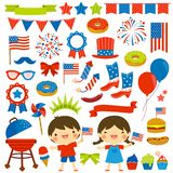 4th of July clip art set stock image