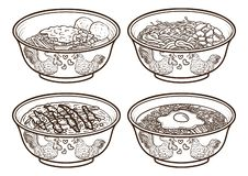 Indonesia asia food outline handdrawing illustrations. Isolated and easy to edit vector illustration