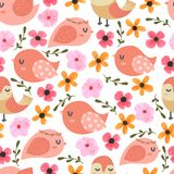 Birds and flower Cartoon Seamless Pattern