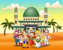 Happy Muslim Kids Cartoon in front of a mosque vector illustration