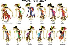 Wayang Putri Jogja , Female And Ladies  Characters, Indonesian Traditional Shadow Puppet - Vector Illustration royalty free illustration