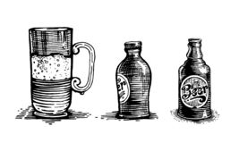 Glass beer mug and beer bottle, vector objects stock illustration
