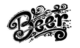 Beer, vector logo for printing, labels and packaging. Made by hand, black and white image vector illustration