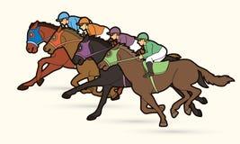 Group of Jockeys riding horse, sport competition cartoon sport graphic. Vector vector illustration