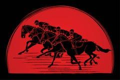 Group of Jockeys riding horse, sport competition cartoon sport graphic. Vector stock illustration