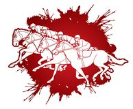 Group of Jockeys riding horse, sport competition cartoon sport graphic. Vector royalty free illustration